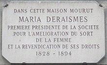 Targa commemorativa dedicata a Maria Deraismes, fondatrice del Droit Humain