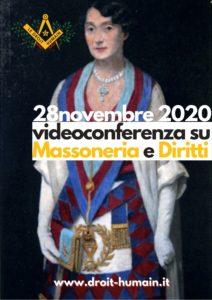 volantino della videoconferenza massoneria e diritti